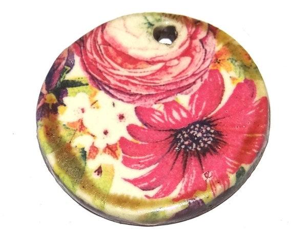 Ceramic Flower Pendant Floral Handmade Porcelain Focal