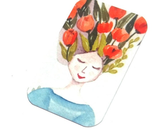 "Small Metal Lady Flower Pendant Handmade Gardening 32mm 1.25"" MSR5-4"