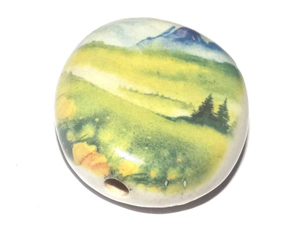Ceramic Landscape Focal Bead Handmade Pottery Beads