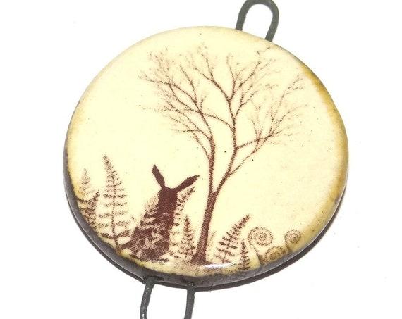 Ceramic Hare Pendant Handmade Focal Porcelain