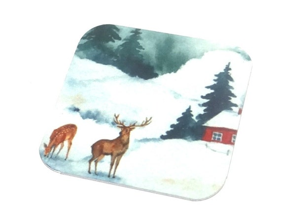 "Metal Snow Stag Deer Scene Charm Pendant Handmade 25mm 1"" Square MSQ4-1"
