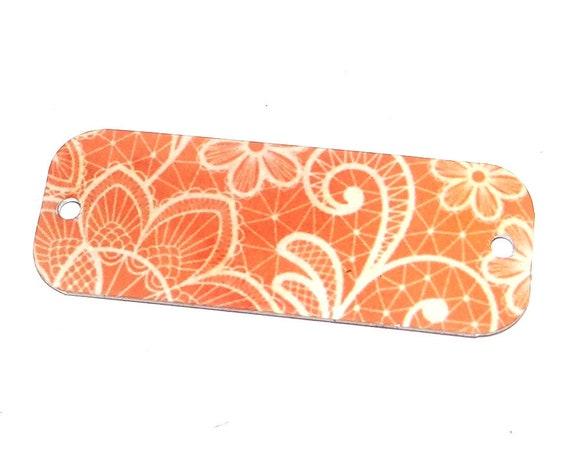 Metal Floral Bracelet Bar Handmade Cuff Peach Flower