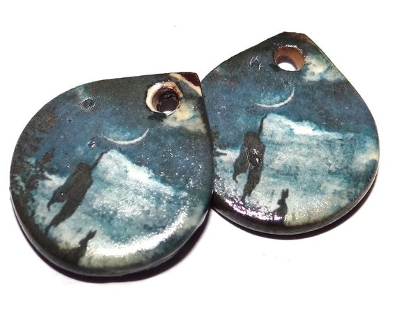 """Ceramic Goddess Mother Earth Earring Charms Pair Beads Handmade Rustic 18mm/0.7"""" CC3-4"""