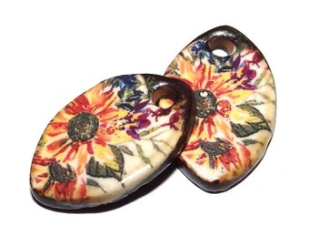 """Ceramic Floral Earring Charms Pair Beads Handmade Rustic 18mm/0.7"""" CC1-1"""