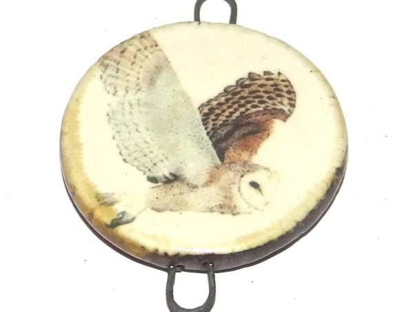 Ceramic Owl Pendant Handmade Focal Porcelain Flight
