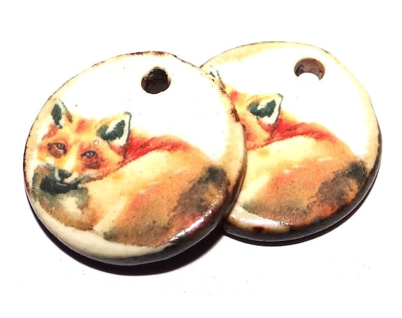 "Ceramic Fox Earring Charms Pair Beads Handmade Rustic 18mm/0.7"" CC3-1"