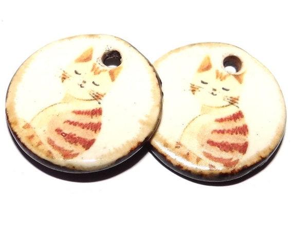 "Ceramic Cat Earring Charms Pair Beads Handmade Rustic 18mm/0.7"" CC3-1"