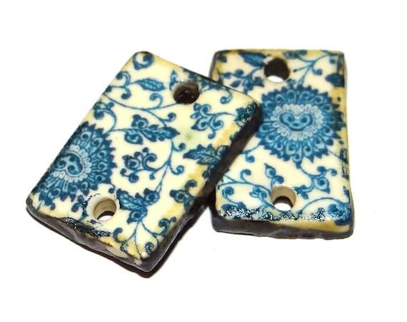 "Ceramic Flower Earring Charms Pair Beads Handmade Rustic 18mm/0.7"" CC2-3"