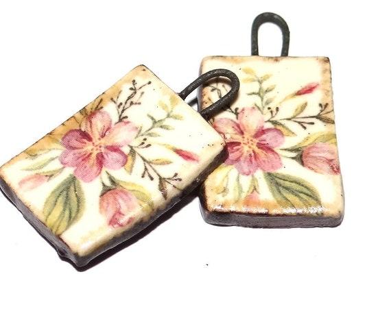"Ceramic Flower Earring Charms Pair Beads Handmade Rustic 22mm/0.9"" CC2-3"