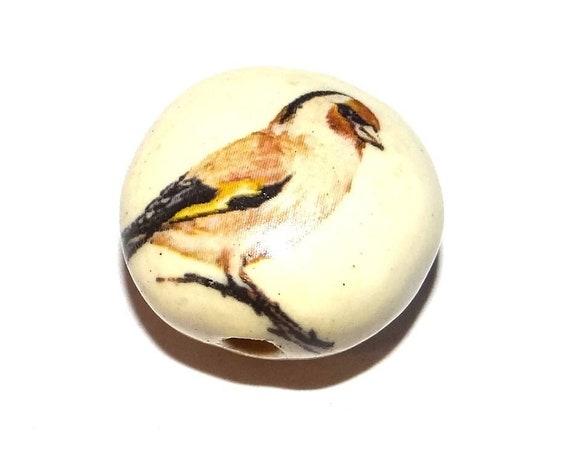 "Ceramic Bird Bead Porcelain Handmade 18mm 0.7"" CFB4-3"