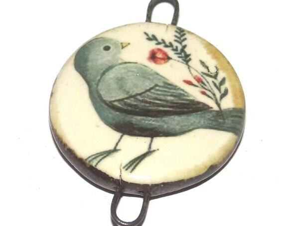 Ceramic Bird Pendant Handmade Focal Porcelain