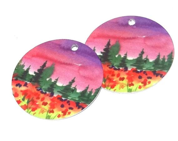 "Metal Patterned Earring Charms Handmade Landscape Pink Sky 1"" 25mm"