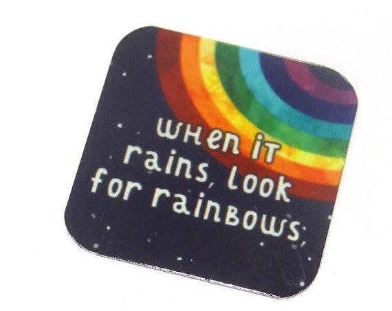 "Metal Rainbow Quote Charm Pendant Handmade Sqaure 1"""