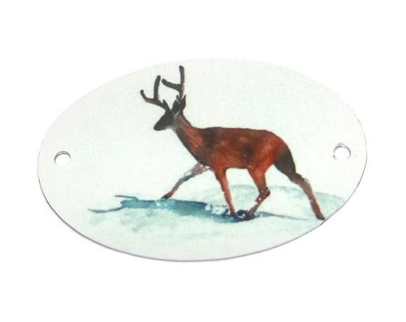 "Metal Stag Deer Bracelet Bar Handmade Cuff 40mm 1.6"" MBB3-3"