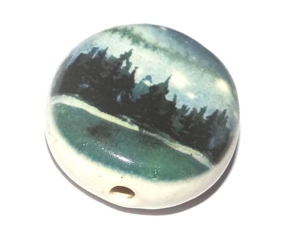 Ceramic Forest Scene Focal Bead Handmade Pottery Beads