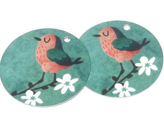 "Metal Bird Blossom Earring Charms Handmade 1"" 25mm MC6-2"