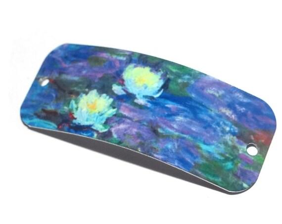 """Metal Bracelet Bar Cuff Handmade Monet Waterlilies 40mm 1.6"""" MBB3-3"""