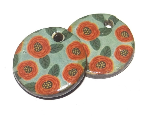 Ceramic Floral Earring Charms Dangle Pair Beads Handmade Rustic