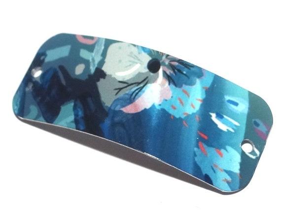 "Metal Bracelet Bar Cuff Handmade Flowers Floral 40mm 1.6"" MBB3-1"