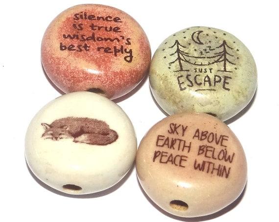 Ceramic Quote Bead Set Beads Handmade Beads Fox Wilderness