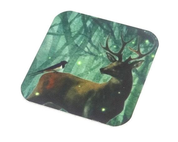 "Metal Stag Charm Pendant Handmade Wildlife Animal Bird 25mm 1"" Square MSQ4-1"