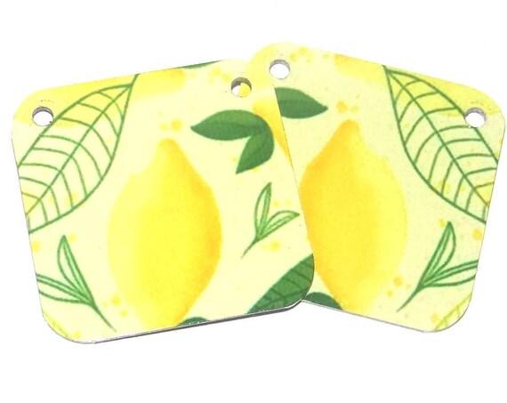 Metal Patterned Earring Charms Handmade Lemons