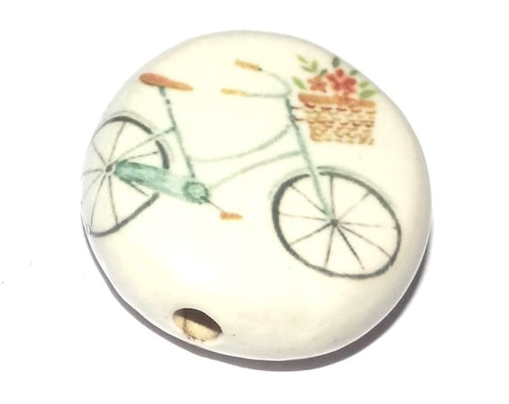Ceramic Bicycle Focal Bead Handmade Pottery Beads