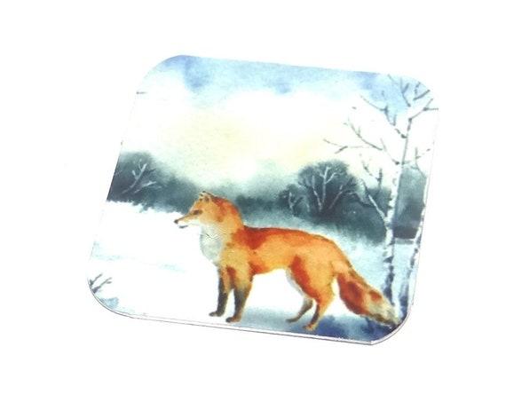 "Metal Fox Winter Snow Scene Charm Pendant Handmade 25mm 1"" Square MSQ4-1"