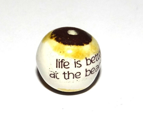 1 Large Ceramic Quote Focal Bead Handmade