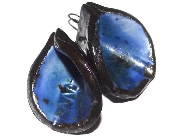 Ceramic Cobalt Dropper Charms Pair Porcelain
