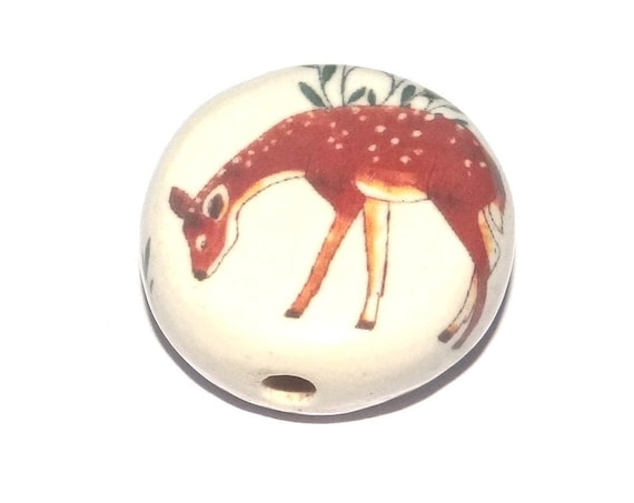 Ceramic DeerFocal Bead Handmade Pottery Beads