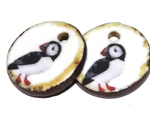 Ceramic Puffin Earring Charms Pair Beads Handmade Rustic Bird Nature