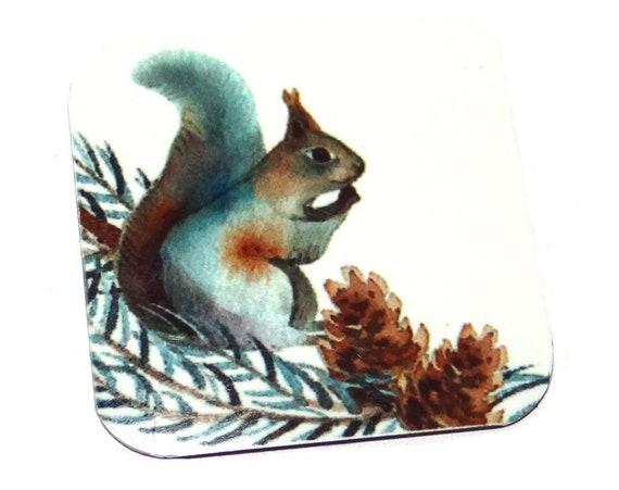 """Metal Squirrel Charm Pendant Handmade 25mm 1"""" Square MSQ4-1"""