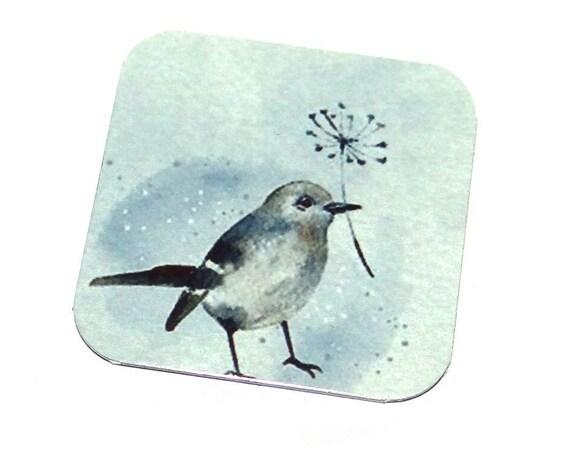"Metal Bird Charm Pendant Handmade 25mm 1"" Square MSQ4-2"