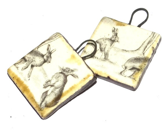 Ceramic Hare Charms Beads Pair Porcelain Wildlife Countryside