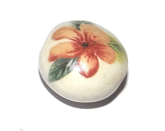 Ceramic Floral Flower Bead Porcelain Handmade