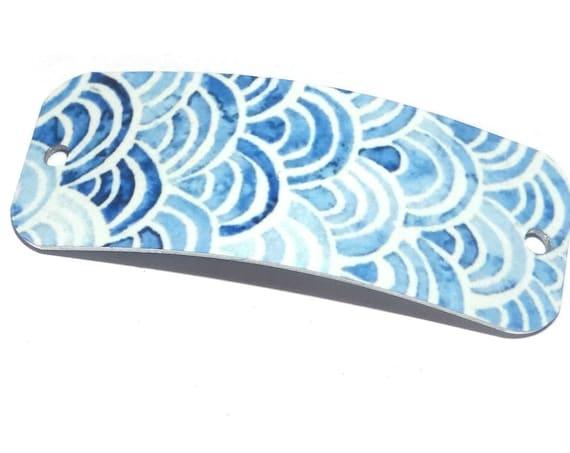 Metal Bracelet Bar Cuff Handmade Blue Waves Ocean