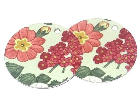 Metal Floral Earring Charms Handmade Vintage Pink Cream