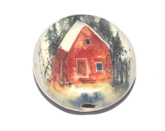Ceramic House Focal Bead Handmade Pottery Beads
