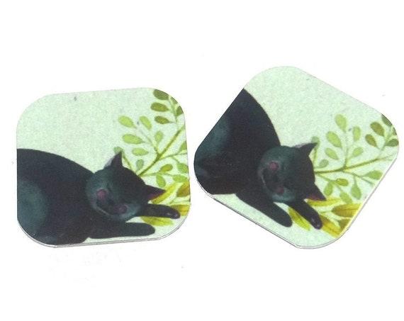"Metal Cat Earring Charms Handmade 16mm 5/8"" MC2-2"