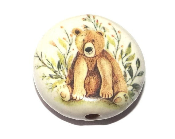 Ceramic Bear Bead Porcelain Handmade