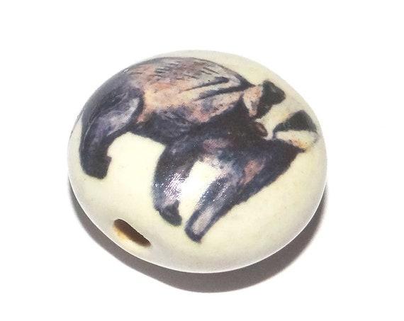 Ceramic Badger Bead Porcelain Handmade