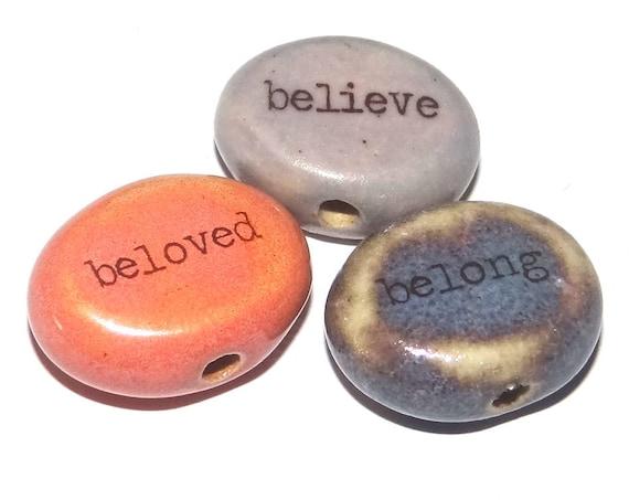Ceramic Quote Word Bead Set Beads Handmade Beads Porcelain Pink Purple