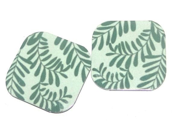 "Metal Leaf Earring Charms Handmade Green Leaves 16mm 5/8"" MC1-1"