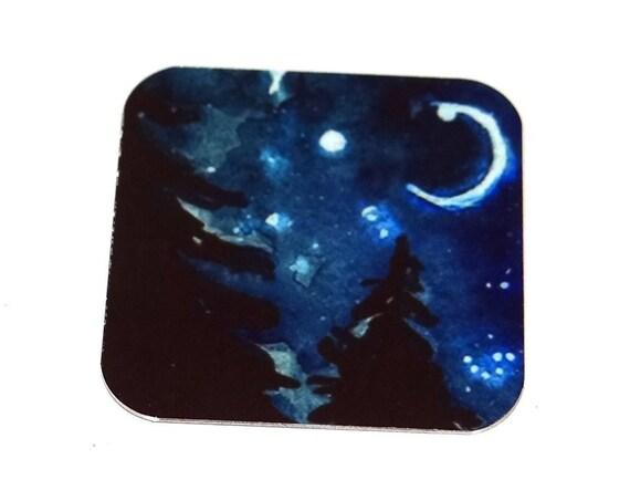 "Metal Night Sky Stars Moon Pendant Handmade 25mm 1"" Square MSQ4-1"