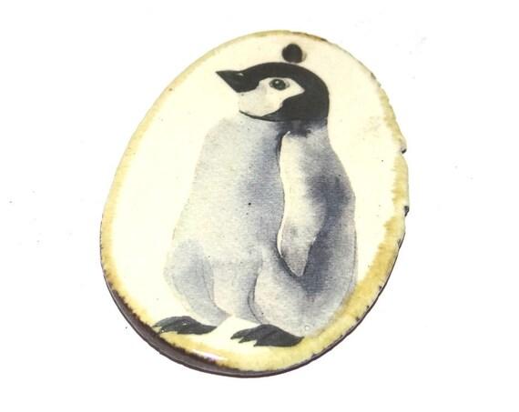 Ceramic Penguin Pendant Handmade Focal Porcelain
