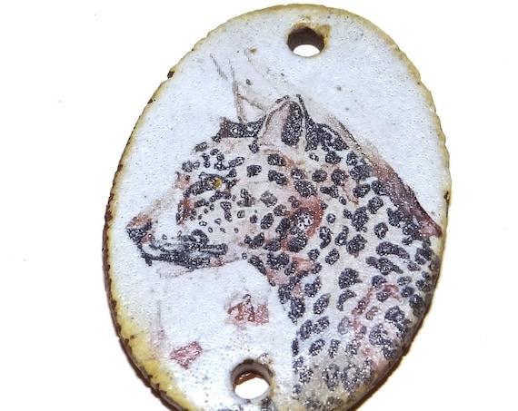 Ceramic Leopard Pendant Word Handmade Focal Animal Wildlife Nature