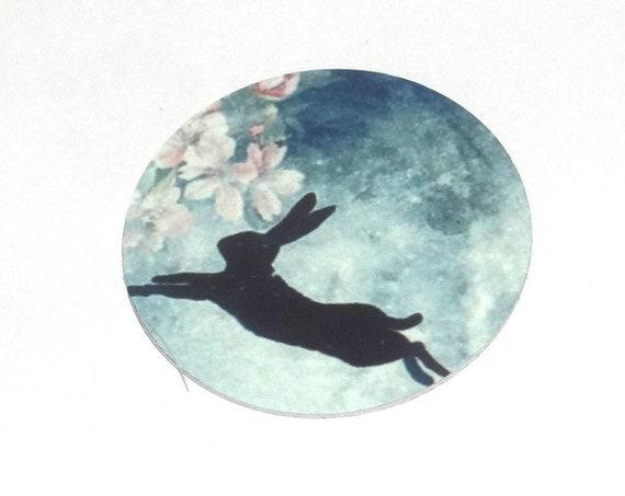 "Metal Hare Full Moon Charm Pendant Handmade Animal Wildlife 1"" 25mm MC6-3"