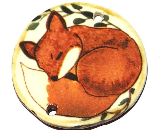 "Ceramic Fox Pendant Handmade Focal Porcelain 40mm 1.6"" CP5-1"