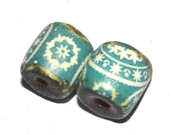 Ceramic Bead Pair Porcelain Turquoise Handmade